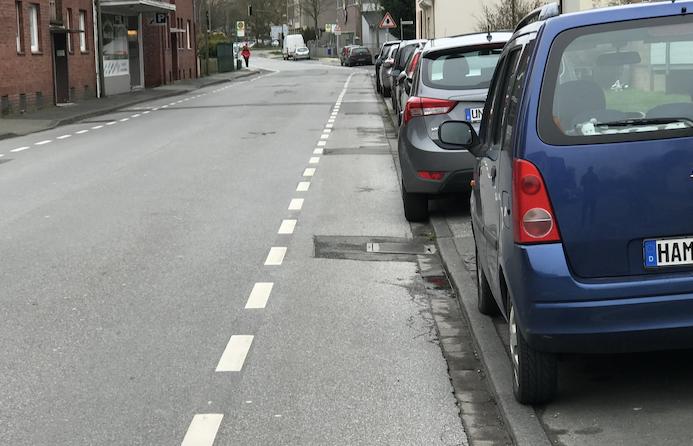 Eichstedtstraße – Schutzstreifen ohne Schutz (Reaktion der Stadt Hamm)